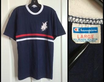 Vintage 1970s Pirate Ship Boat Blue Bar Champion T-shirt size Large sewn on Stripes Red White Blue Pirates Baseball tshirt