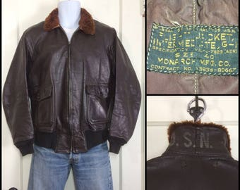 1950's 1951 USN G1 goatskin leather bomber flight jacket brown size 40 by Monarch Mfg. US Navy military 7823 aer