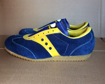 1970s suede leather track shoes sneakers size 11.5 blue yellow striped barely used possibly deadstock Spot-Bilt