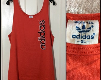 1980's Adidas Tank Top size XL 22x26 made in USA red sportswear basketball