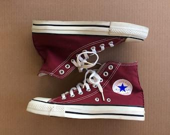 1990s burgundy red Converse Allstars size 6.5 made in USA Chuck Taylors Chucks hi tops canvas sneakers kicks shoes punk skate #2