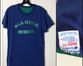 1980s Champion brand Reversible Double Marina School Gym T-shirt size Medium 19.5x27 Blue Green