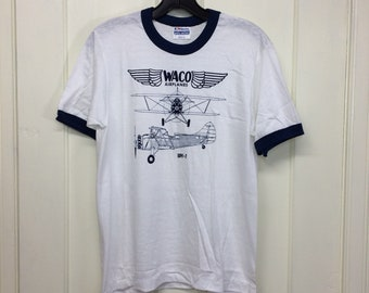 deadstock 1980s Waco UPF-7 patent drawing vintage biplane airplane t-shirt size medium 18x24 pilot aircraft ringer tee Hanes made in USA NOS