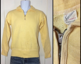 distressed 1950s pastel Yellow half zip collar Sweatshirt size Medium brass zipper flat stitching long cuffs Quality Sportswear all cotton