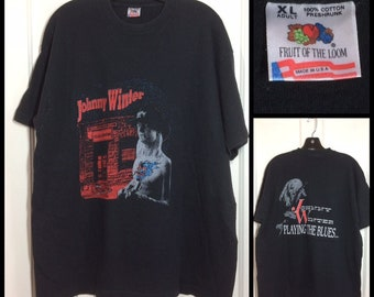 1990s Johnny Winter Playing the Blues rock band t-shirt size XL 22.5x28.5 black cotton made in USA