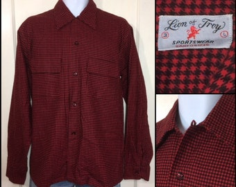 1940s black dark red houndstooth patterned soft cotton flannel loop shirt size large Lion of Troy Sanforized pocket flaps maybe deadstock