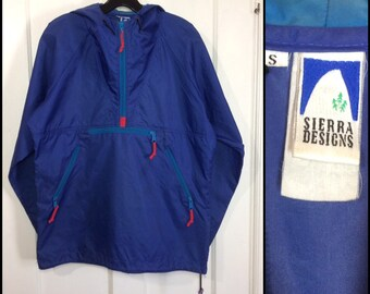1980s Sierra Designs nylon pullover anorak half zip hoodie jacket size small blue