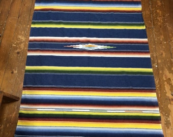 Mexican Saltillo serape tight weave handwoven wool blanket throw 81x45 inch colorful striped rainbow blue rug wallhanging