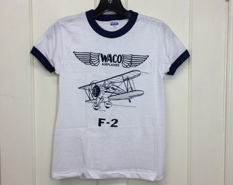 deadstock 1980s Waco F-2 small vintage biplane airplane t-shirt size boys 14-16 15x21 pilot aircraft blue ringer tee Hanes made in USA NOS