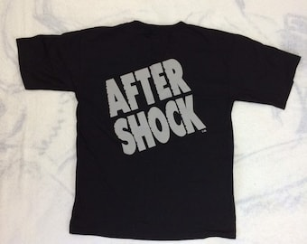 Deadstock 1990s AfterShock liqueur drink t-shirt size large 21x28 black single stitch cotton drinking party shirt NOS