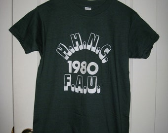 Vintage 1980's Deadstock H.H.N.C. 1980 F.A.U. Florida Atlantic University T-shirt Dark Green size Large