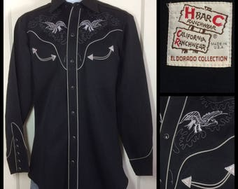1970's H Bar C El Dorado Collection Black white embroidered eagles Cowboy Western Shirt looks size Medium HBarC California Rancher Ranchwear