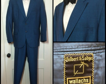 1950s Blue 2 piece Sharkskin Suit Dinner Jacket looks size Large, cuffed Trousers size 36x31 1960's