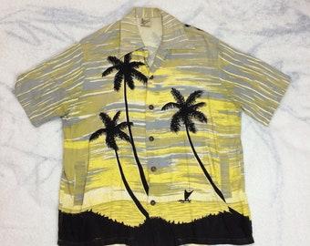 1940s heavy rayon Hawaiian loop collar shirt size medium by Catalina of California Hand Prints black palm trees yellow sunset beach surfer