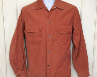 1940s dusty salmon rose pink color cotton corduroy loop collar shirt size medium by Towncraft Deluxe rockabilly swing era