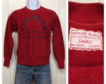 1960s Champion Reverse Weave Eaglebrook boarding school blood red all cotton sweatshirt size small single color cloth tag made in USA
