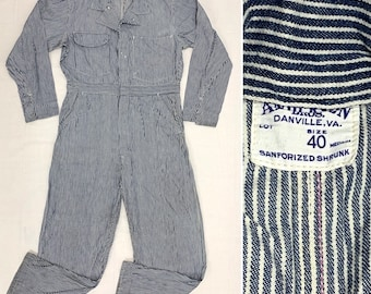 1940s 1950s hickory striped lightweight denim coveralls size 40 medium Anderson Bros donut hole buttons Sanforized workwear carpenter