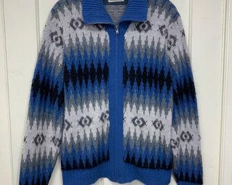 1960s zipper sweater by Kandahar size medium fuzzy fair isle ski acrylic made in USA