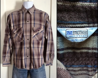 Vintage 1970's 5 Brother Heavy Flannel work Shirt size Large Brown Tan Plaid