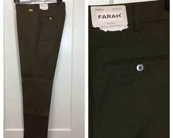 deadstock 1960s 2 tone sharkskin shimmer tapered peg leg pants by Farah 34x32 thins green brown mod skate punk Ivy League preppy NOS NWT
