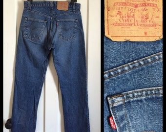 Vintage Levi's perfectly Faded Blue denim 505 34X30 measures 32x29.5 Straight Leg Jeans made in USA grunge Kurt Cobain #1219