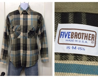 deadstock 1970s Five Brother heavy cotton flannel shirt size medium olive green black blue white plaid work workwear Union made in USA