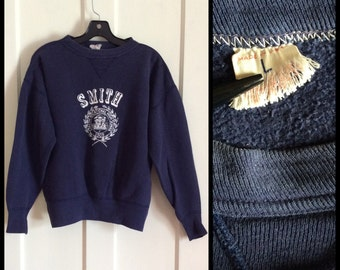 Vintage 1950s Smith Vocational High School Sweatshirt looks size Large Navy Blue front V overstitch worked in