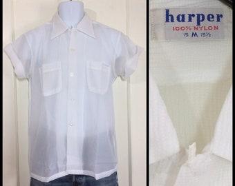deadstock 1950s white short sleeve summer sheer textured nylon loop shirt size medium by Harper rockabilly beach leisure island tropics NOS