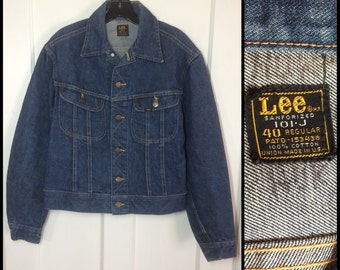 Vintage 1960's Lee 101-J Jacket size 40 dark wash Blue Jean 2 pocket Union Made in USA #1907