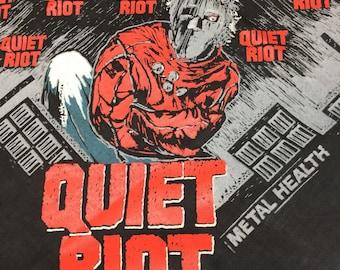 1980s Quiet Riot Metal Health black novelty bandana 21.5x21.25 heavy metal hard rock wall hanging 1983 album promo hemmed selvedge #151