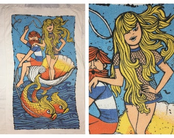 1960s pin-up surfer dude cotton beach towel by Cannon made in USA pinup wide stripe t-shirt nautical fish sexy blonde seashell