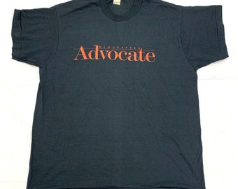 deadstock 1980s Newspapers Advocate t-shirt size XL 22x27.5 black Screen Stars made in USA single stitch NOS