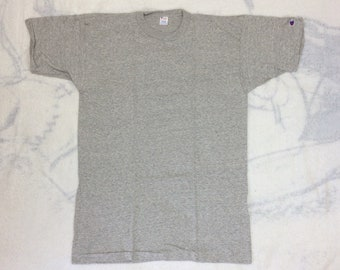 deadstock 1980s Champion brand plain blank heather gray 88/12 cotton rayon t-shirt size XL 22x32 NOS made in USA single stitch cloth tag