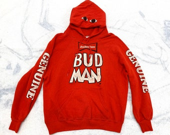 1980s Bud Man red pullover hoodie sweatshirt size XL Budweiser beer made in USA