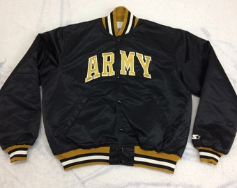 1980s US Army Starter jacket size XL quilted black satin bomber gold embroidered patches made in USA
