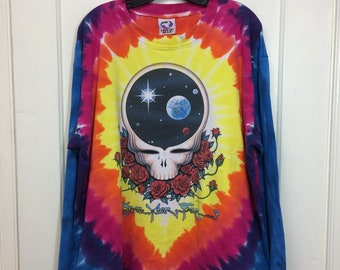 1990s 1992 Jerry Garcia Grateful Dead Space your Face tie dye skull roses long sleeve t-shirt looks size XXL 26x29 rainbow Liquid Blue rock