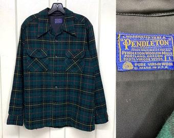 1970s Pendleton satin lined wool loop collar board shirt size large dark green black yellow plaid made in USA rockabilly beach boys