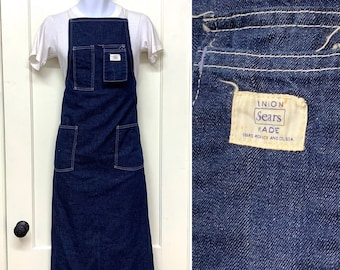 1940s 1950s Sears and Roebuck indigo blue denim work chore apron with selvedge Union Made in USA