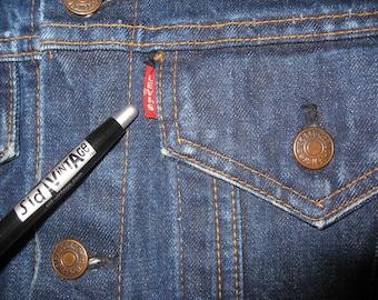 1960s LEVI'S Big E dark wash Indigo Blue 2 Pocket Denim Jean Jacket size 34 Small Slim Fit # 1814
