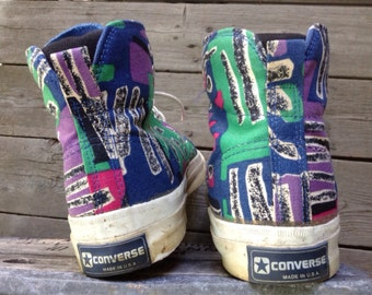 Vintage 1980's Converse Skidgrip Made in USA Abstract Pattern Skate Sneakers Kicks Shoes looks size 10
