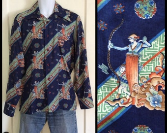 Vintage 1970's McGregor Disco Shirt size Medium Greek Goddess Archer Cupid Bow and Arrow Pattern