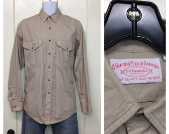 1990s Filson work shirt size medium light weight cotton made in USA tan beige