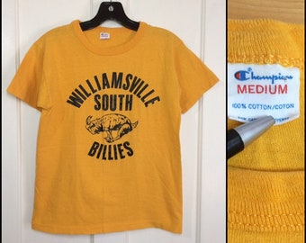 1980s Champion brand all cotton Williamsville NY South Billies billy goat school team t-shirt size M 16.5x22 looks small yellow made in USA