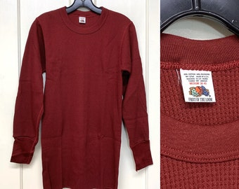 1970s deadstock Fruit of the Loom thermal long johns undershirt size medium burgundy red waffle textured long sleeve t-shirt made in USA NOS