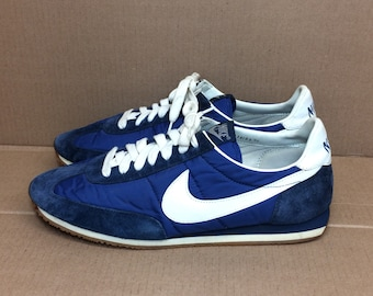 1983 Nike Roadrunner running shoes size 12.5 dark blue white swoosh nylon suede trainers kicks sneakers 1980s
