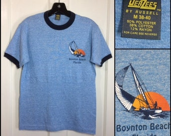 1980s Boynton Beach Florida tri-blend ringer souvenir t-shirt size medium 17.5x25 heather blue rayon tropical sailing sunset made in USA