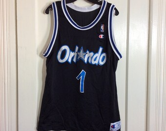 1990s Penny Hardaway number 1 Orlando Magic NBA Basketball team black Champion Jersey Tank size 44 made in USA