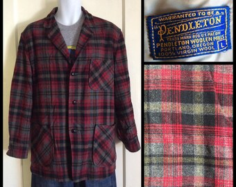 Vintage 1950s Pendleton Rockabilly Plaid Wool 49er Jacket Coat size Large red black gray