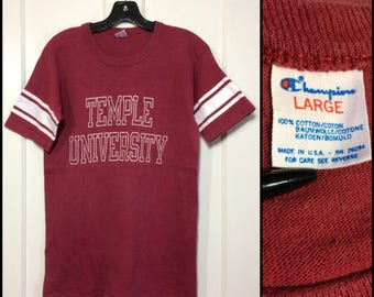 1980's Temple University Champion brand cloth tag football striped t-shirt size large, looks small 17x27 all cotton faded burgundy red