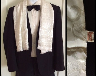 Vintage White Damask Formal Modern Art Deco 1920's 1930's Rayon ascot cravat Opera scarf 12x46 wedding